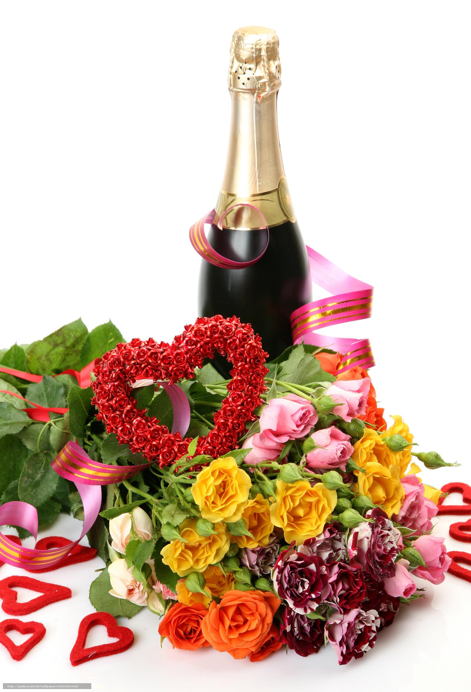 Открытки с розами и шампанским, сделать открытку листа