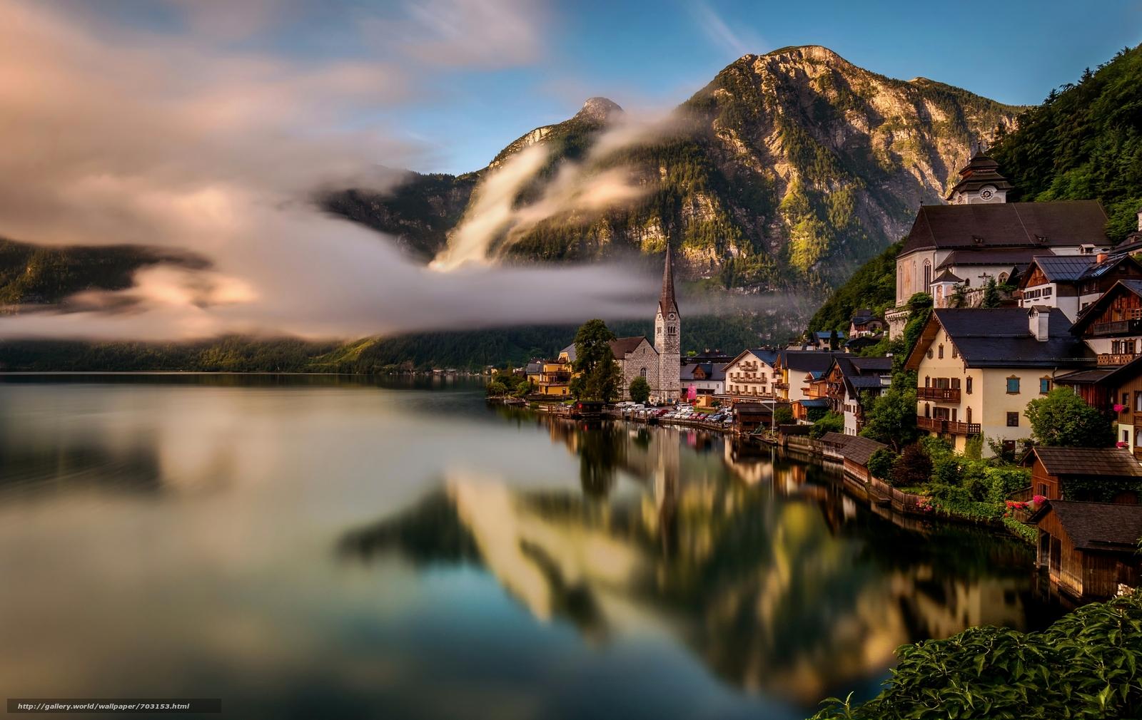 Обои австрия, дома, альпы, гальштат, hallstatt, austria. Города foto 14