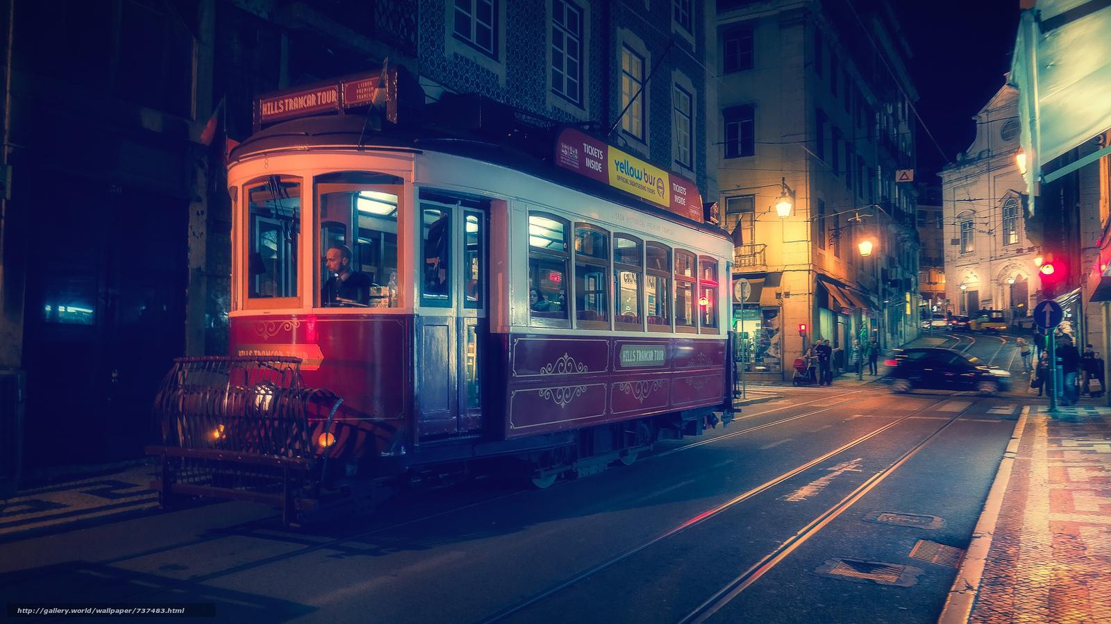 Обои lisbon, трамвай, ночь. Города foto 10